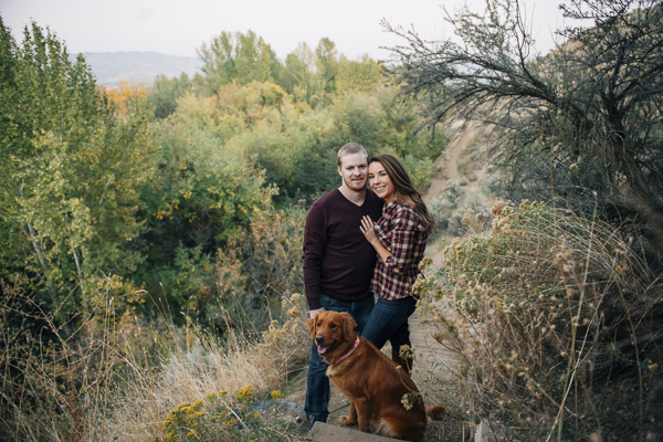 Golden Retriever, couple, foothills engagement photos