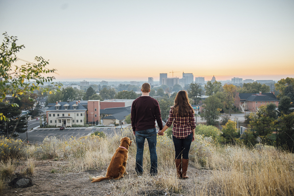 couple and dog looking down on city, © E And E Photography, Boise, Idaho