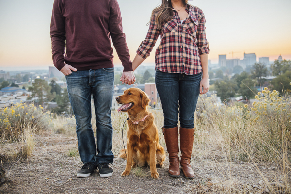 Golden Retriever, man, woman in plaid shirt, outdoors engagement session © E And E Photography