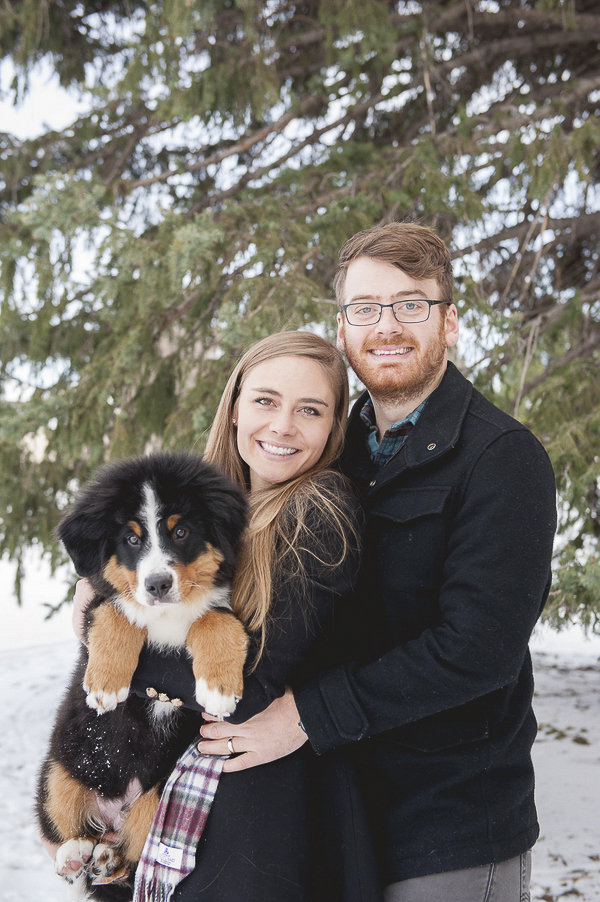 Colorado family portraits with puppy, winter family photos