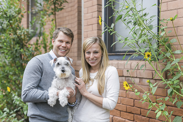 © Courtney Sargent Photography | Mini Schnauzer family portrait next to brick building