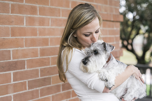© Courtney Sargent Photography | girl and her dog, woman kissing small dog, Mini Schnauzer