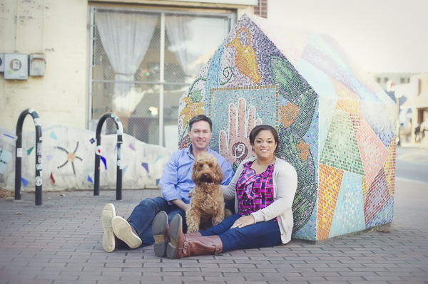 uptown Charlotte engagement session with Labradoodle