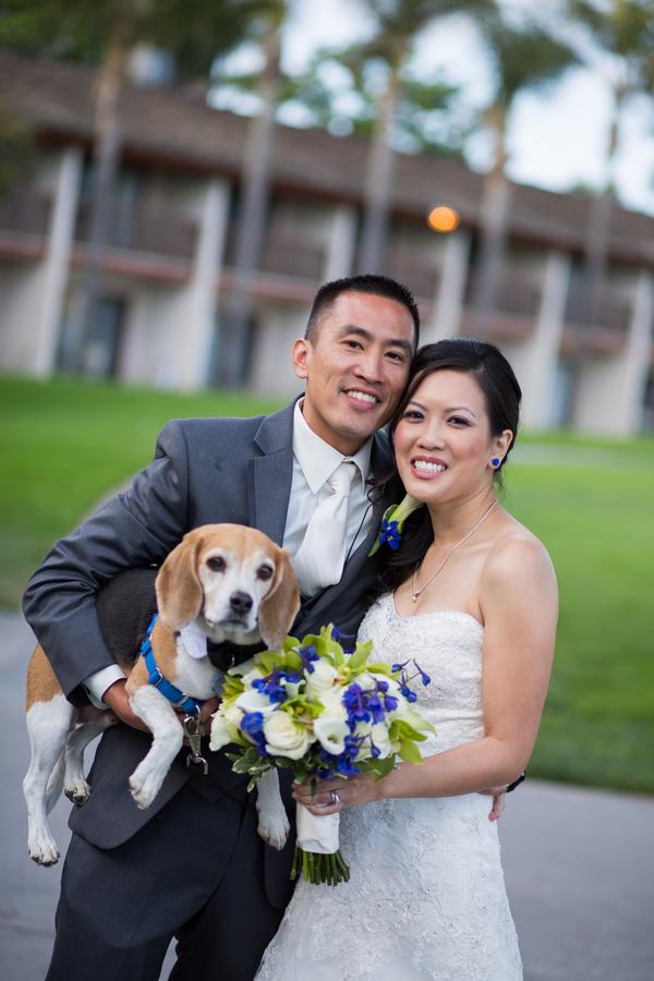 Wedding dog, bride, groom © Michelle Chiu Photography