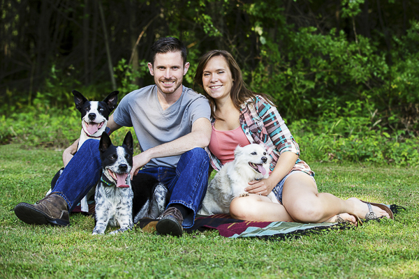 Picnic Engagement session with dogs-