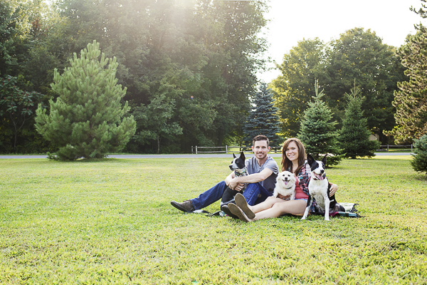 Picnic engagement photos with dogs
