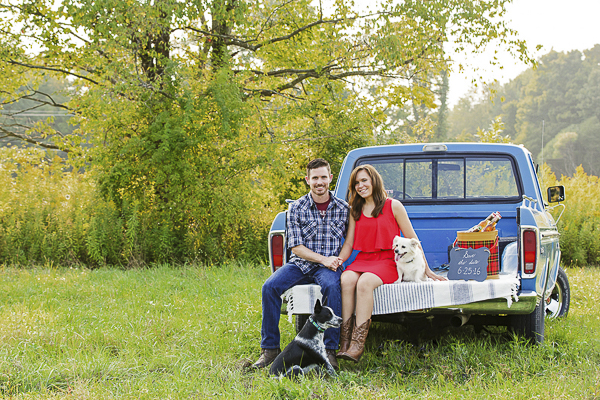 Picnic Engagement session with dogs,blue pick up and vintage plaid cooler