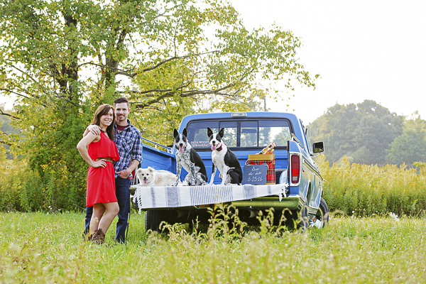 engagement session with dogs, pick up truck and vintage cooler