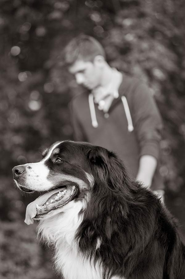 handsome Berner, boy and his dog