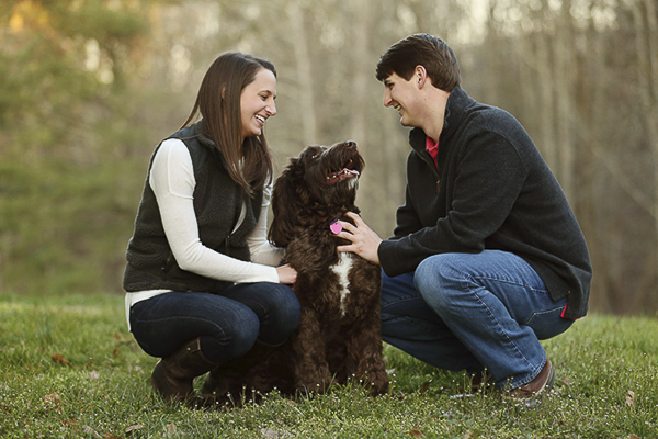 couple and labradoodle at horse farm, on location dog, family, portraits