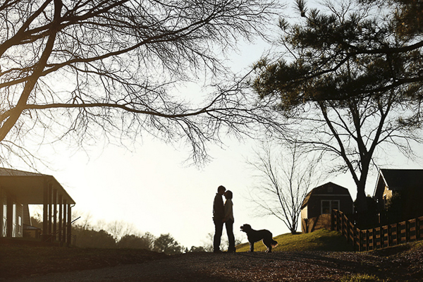 couple and dog silhouette on horsefarm