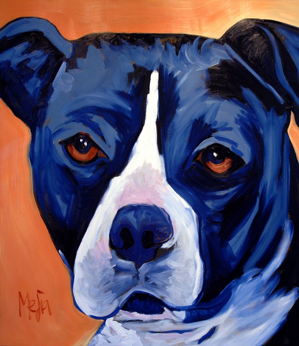 Curly-©Cyrus Mejia | pit bull portrait in oil, Pits And Perception