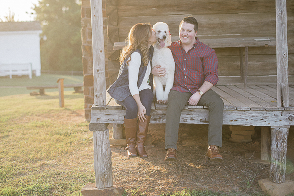 White Standard Poodle engagement pictures