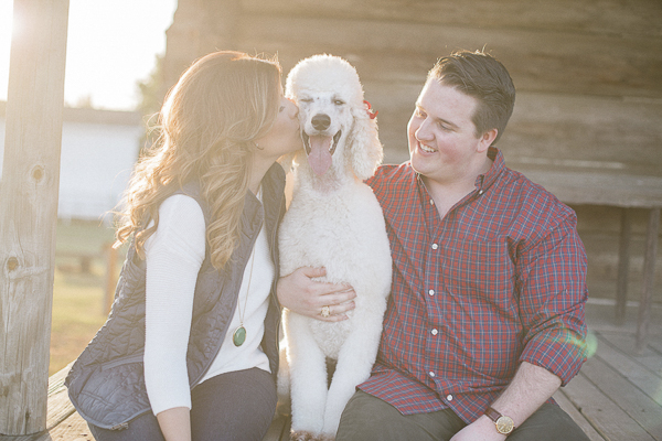 ©Karinda K Photography, woman kissing white standard poodle, engagement pictures with dog