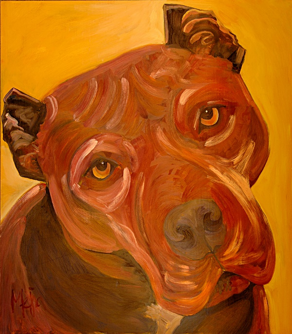 Lena ©Cyrus Mejia | pit bull portrait in oil, Pits And Perception