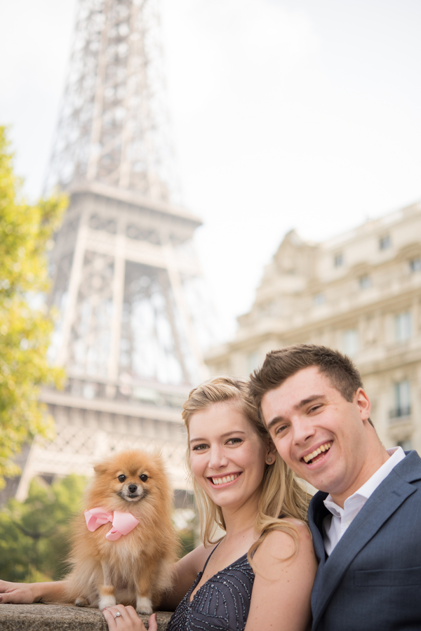 Pomeranian, engagement photos Eiffel Tower, Paris