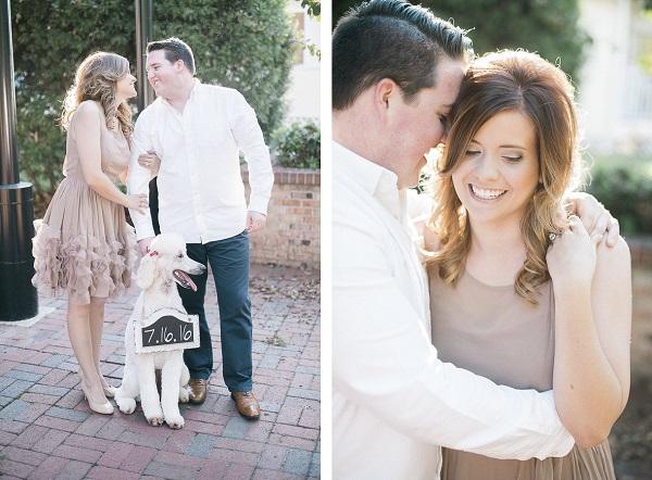 Poodle save the date, engagement portraits