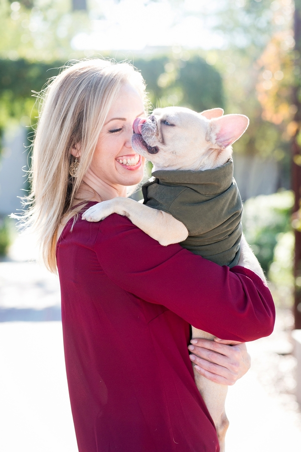 © Rachael Hall Photography | lifestyle dog portraits, woman holding Frenchie
