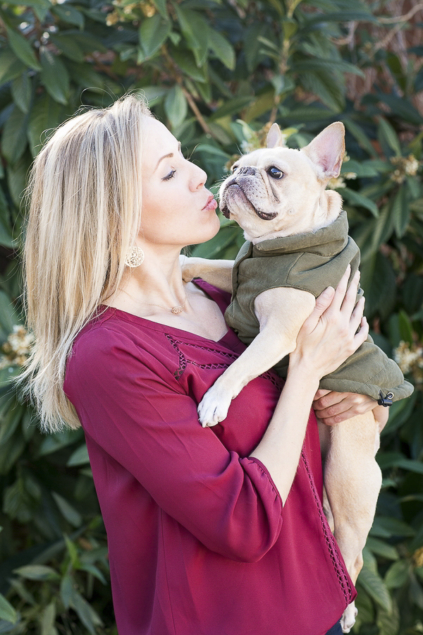 © Rachael Hall Photography | lifestyle dog portraits, French Bulldog wearing khaki coat