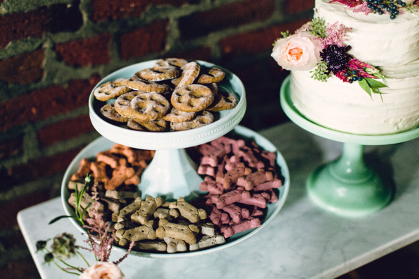 dog wedding reception snacks, pawprint cookies, bone shaped treats
