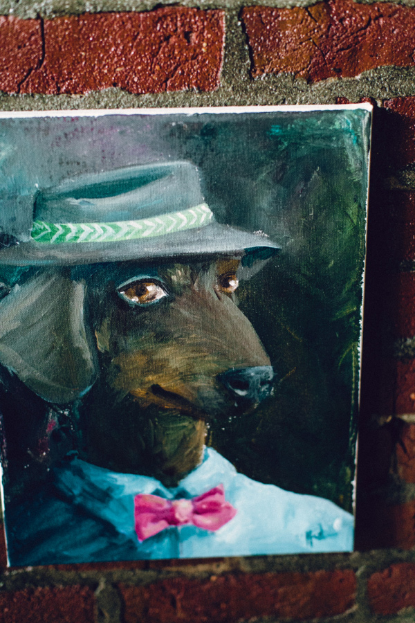 Doxie in Fedora painting,
