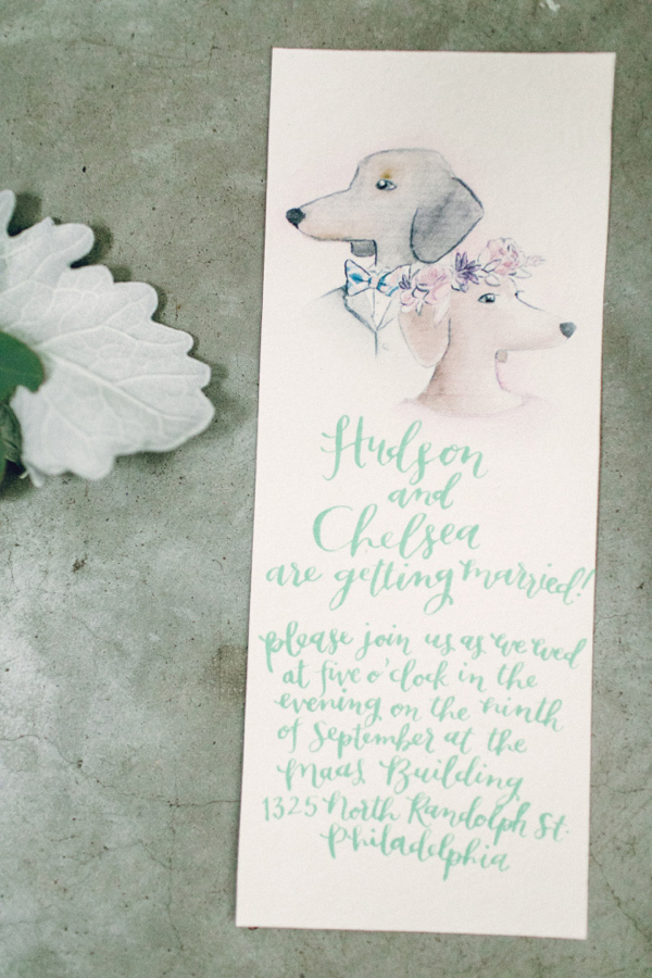 hand lettered invitation doxie wedding