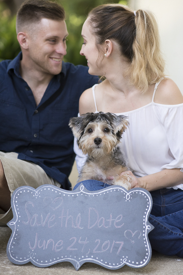 ©Corner House Photography | engagement photos with Havashire puppy, chalkboard Save-The-Date sign