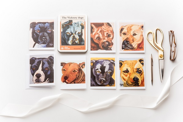 Daily-Dog-Tag-Flatlays-Best-Friends-Animal-Sanctuary-Vicktory dogs greeting cards, Cyrus Mejia