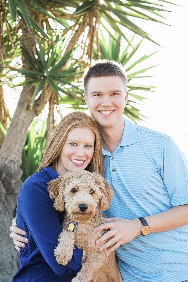 Golden Doodle puppy, engaged couple with puppy
