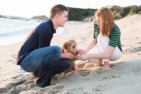 Golden Doodle on sandy beach, engaged couple