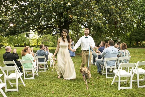 Nashville Styled Dog Themed Wedding, bride, groom and dog walking down aisle