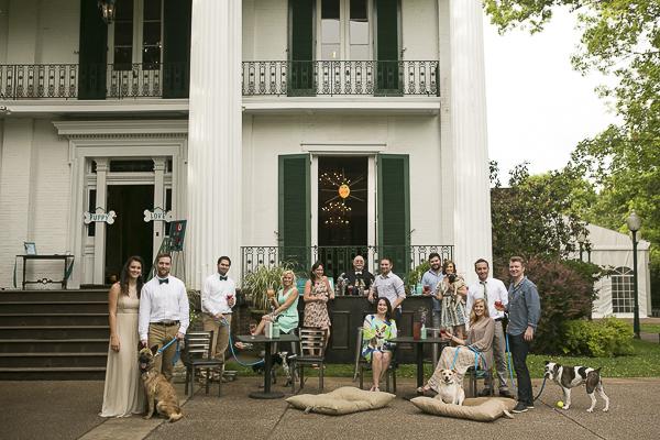 styled dog friendly wedding, Nashville, wedding guests, dogs, bride groom outside venue