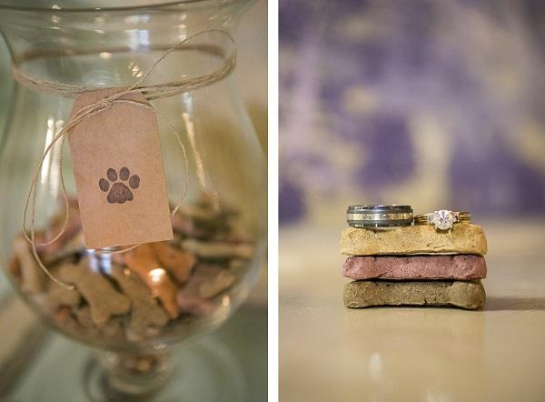 Styled Dog Themed Wedding-rings and dog treats