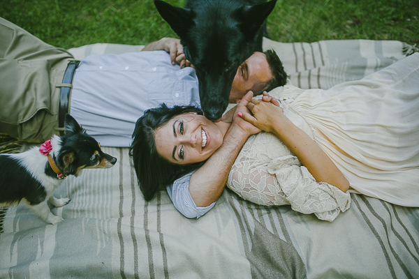 dogs photobombing engagement photo session