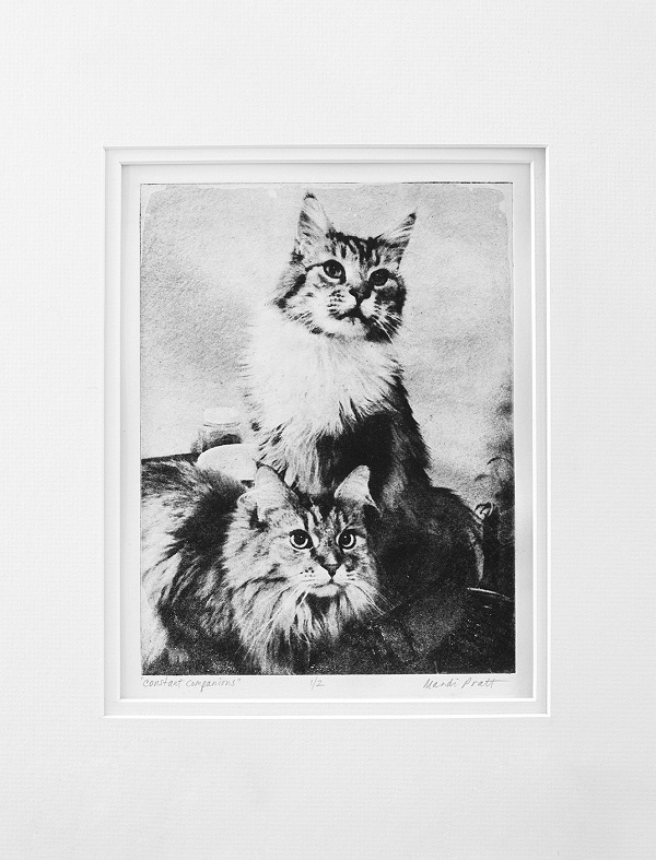 handmade-etching-2 cats, © Greyboy Pet Prints