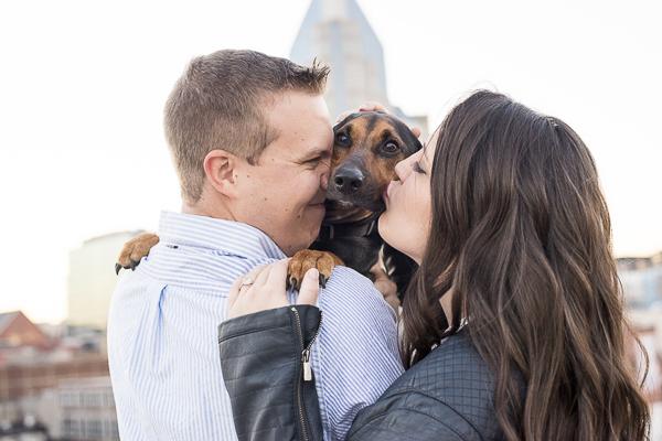 © Ivory Door Studio   couple kissing coon hound, Nashville engagement photos