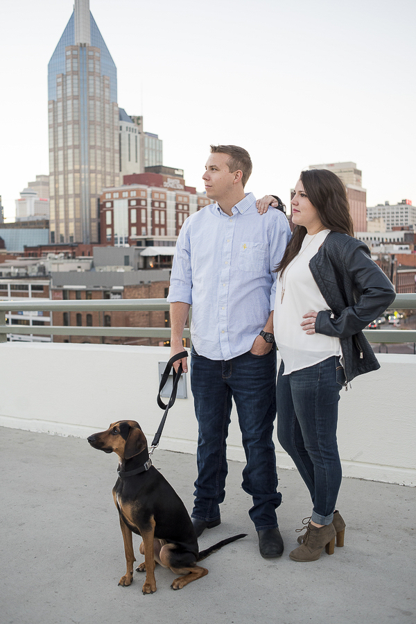 couple and dog on roof , urban engagement photos,
