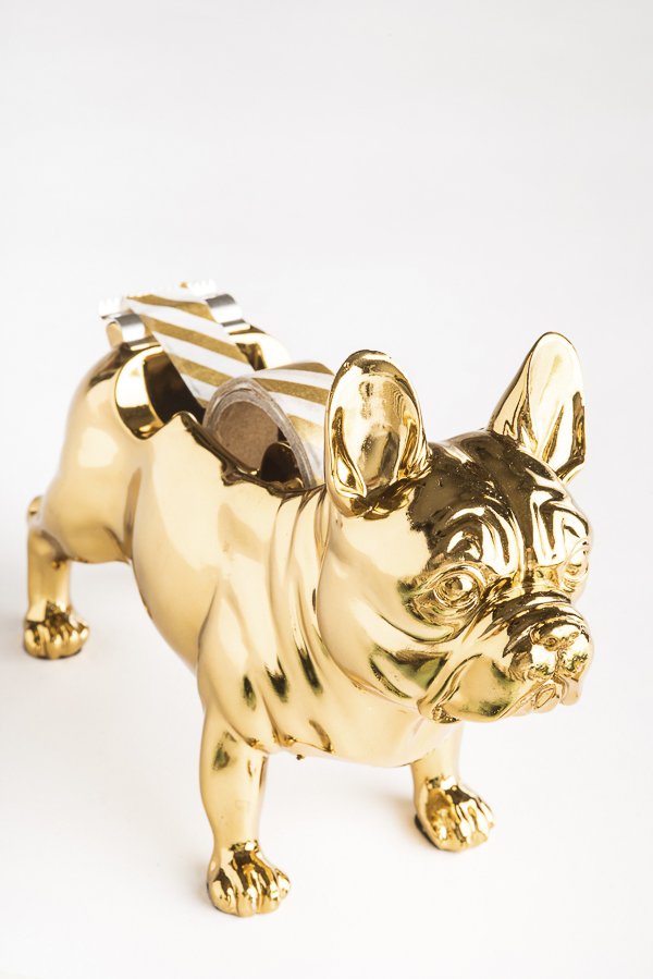 Gold French Bulldog tape dispenser with gold washi tape, desk accessories for dog lovers