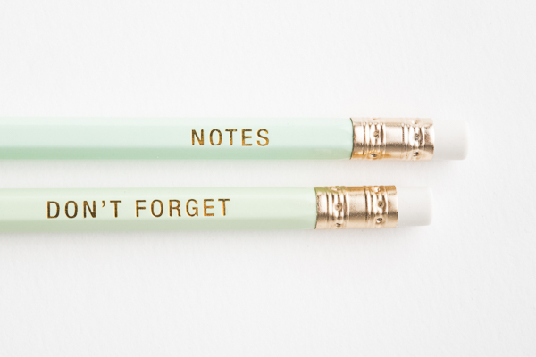 mint green pencils with gold embossing, Notes, don't forget pencils, desk accessories for dog lovers