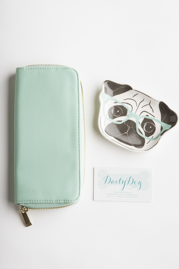 mint faux leather wallet, Pug wearing mint green glasses trinket tray, business card,