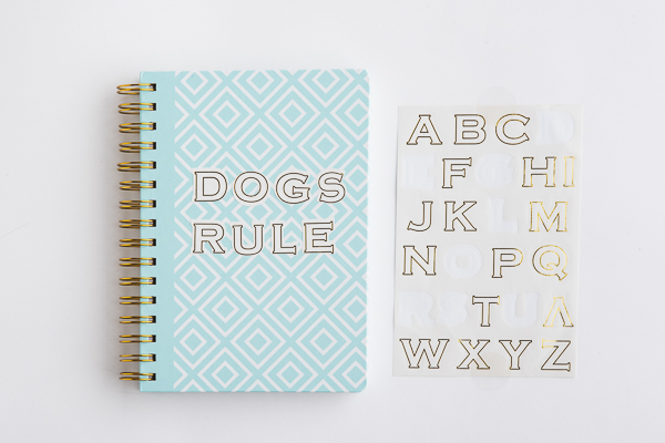 customize journal with stickers, dogs rule