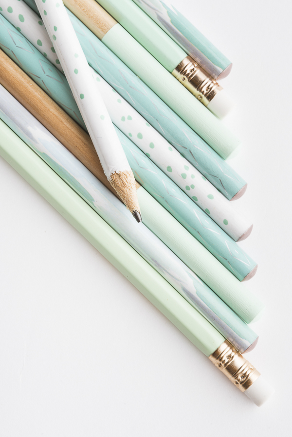 mint and white pencils,
