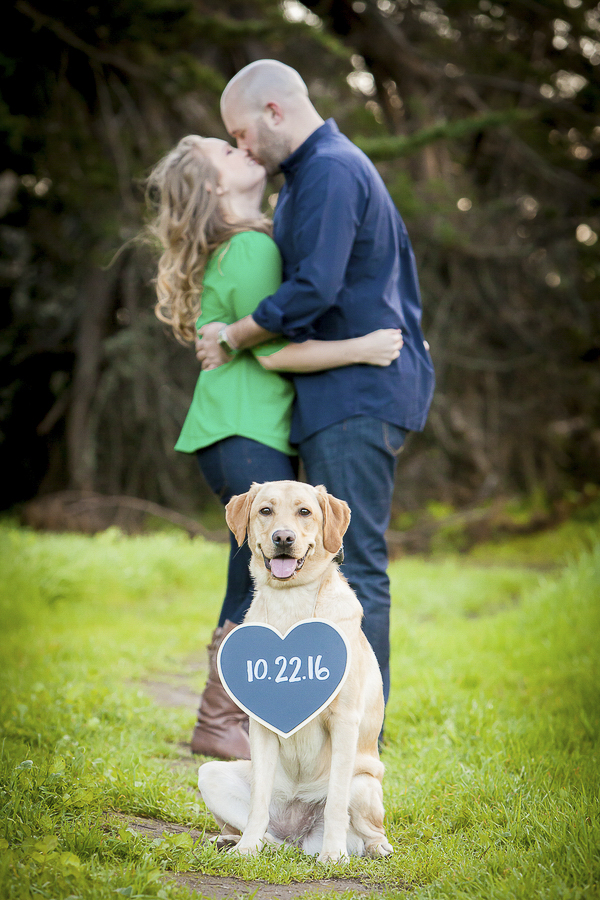 Yellow Labrador Save-the-Date sign, engagement photos
