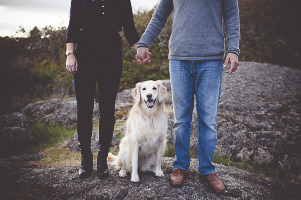 couple holding hands over Retriever mix on rocks, fall engagement photos with dog
