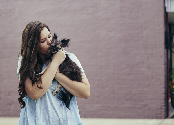 high school senior cuddling small Shih Tzu mix, Independent Photographer & Illustrator - Anjeanette Illustration