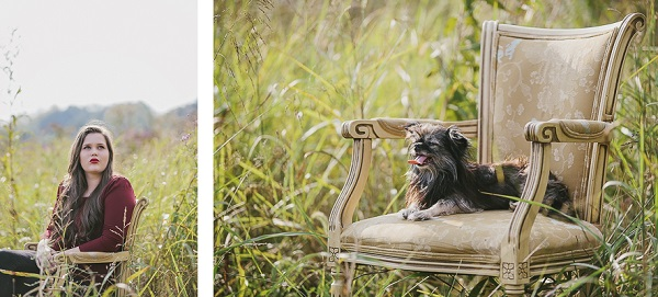 anjeanette-illustration-senior-portraits-with-dog-on-chair in field