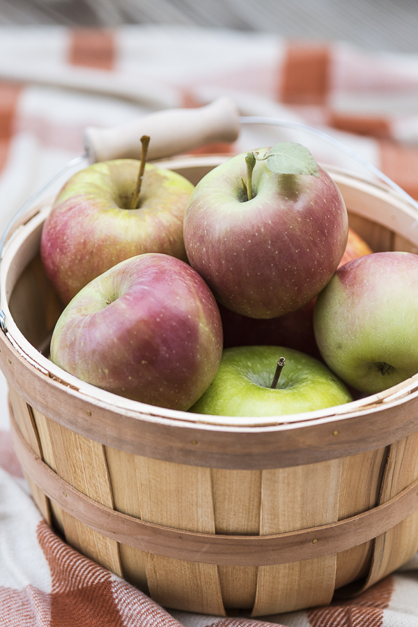 freshly picked apples in wood basket on blanket