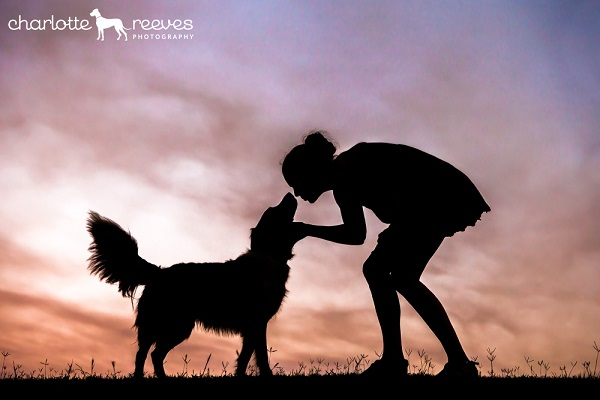 Learn Pet Photography, woman and dog silhouette