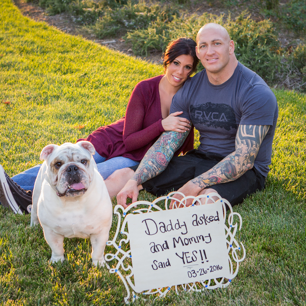 couple, English Bulldog, Save the date with dog