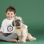 little girl sitting with Shih Tzu, dog photography